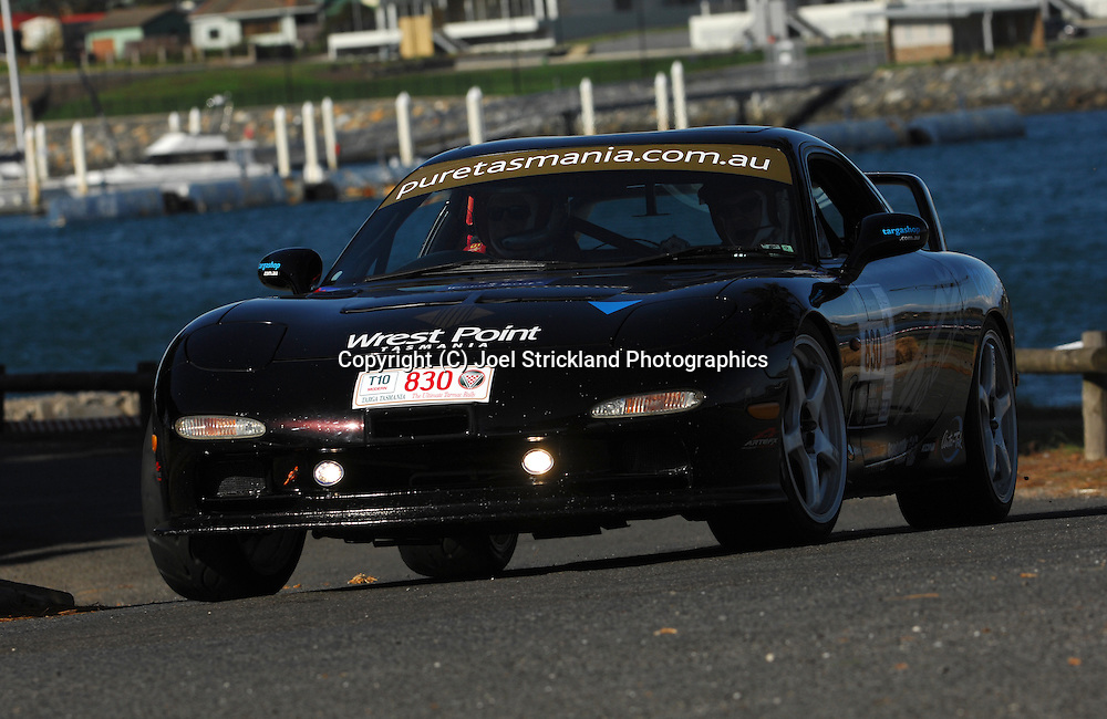 #830 - Glenn Ridge & Bob Edwards - 1995 Mazda RX7 SP.Prologue.George Town.Targa Tasmania 2010.27th of April 2010.(C) Joel Strickland Photographics.Use information: This image is intended for Editorial use only (e.g. news or commentary, print or electronic). Any commercial or promotional use requires additional clearance.