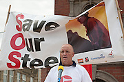 Skinnergrove speaker at Corus Save Our Steel March Redcar..© Martin Jenkinson, tel 0114 258 6808 mobile 07831 189363 email martin@pressphotos.co.uk. Copyright Designs & Patents Act 1988, moral rights asserted credit required. No part of this photo to be stored, reproduced, manipulated or transmitted to third parties by any means without prior written permission