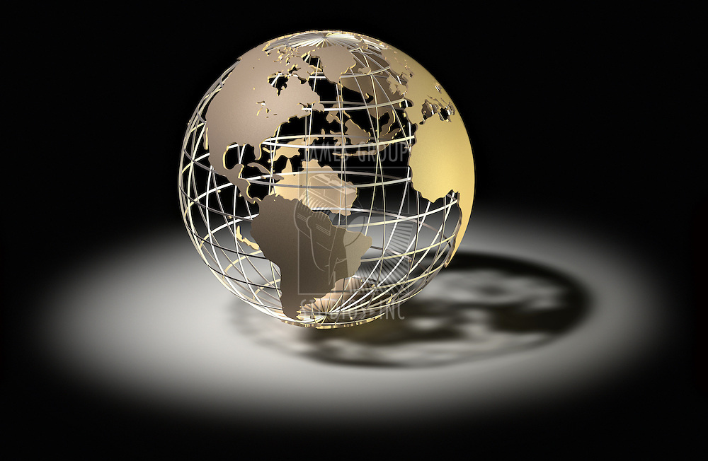 High Quality 3d art showing a caged metalic structure of the earth under a spotlight over black.