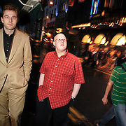 Little Britain stars, Matt Lucas (in red) and David Walliams on Old Compton Street in London's West End.
