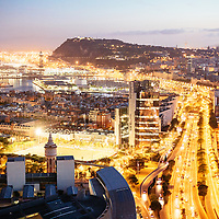 City Lights over the Harbour of Barcelona, Spain.