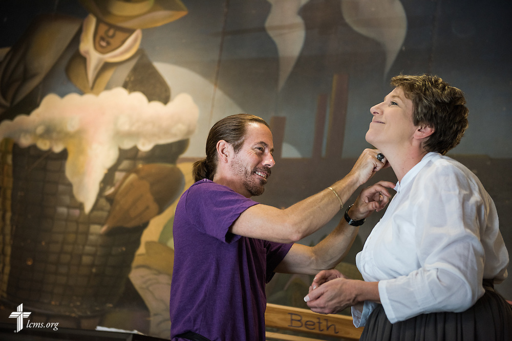 Van DuBose applies makeup to Kim Vieker for her role as an extra during filming of 'The First Rosa' documentary on Wednesday, Sept. 24, 2014, at the Old Depot Museum in Selma, Ala. LCMS Communications/Erik M. Lunsford