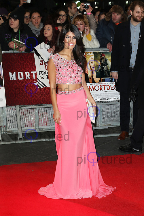 Jasmin Walia, Mortdecai - UK film premiere, Leicester Square, London UK, 19 January 2015, Photo by Richard Goldschmidt
