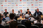 Media Conference with (L-R)Tom-Jelte Slagter (Cannondale - Drapac Pro Cycling Team), Richie Porte (BMC Racing Team), Simon Gerrans (ORICA-SCOTT), Peter Sagan (Bora Hansgrohe), Santos Tour Down Under Race Director, Mike Turtur Tour Down Under, Australia on the 14 of January 2017 ( Credit Image: © Gary Francis / ZUMA WIRE SERVICE )