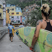 Deise Campos, 25, female surfer. Two years ago she found out on surfing a way to escape from Rocinha's reality. Single mother and expecting another child, she goes surfing in every opportunity she has. I couldn't say she's an activist; on the other hand the woman is very critic about environment issues, as well as she really paints the picture of life at Rocinha before and after military police occupation. She says not only officers didn't avoid drug trafficking, after they installed a Pacifying Police Unit the community turned into a lawless place, in which residents struggles with sexual abuse, robbery, and homicides, problems which she claimed they didn't have before, while living under drug dealers' law and order. That's an assertion I heard every time I asked a resident about it.
