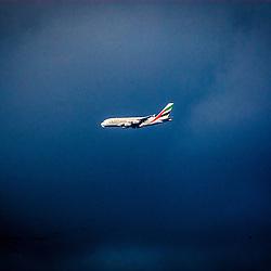Emirates Airbus heading towards Glasgow Airport