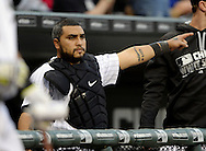 CHICAGO - MAY 03:  Dioner Navarro #27 of the Chicago White Sox looks on against the Boston Red Sox on May 3, 2016 at U.S. Cellular Field in Chicago, Illinois.  The White Sox defeated the Red Sox 4-1.  (Photo by Ron Vesely)    Subject:  Dioner Navarro