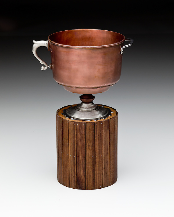 """Vernacular Cup by Jaydan Moore. Copper, pewter, steel, oak, wlanut and silver, 18"""" high by 6"""" diameter. Contact information for artist - Jaydan Moore  at jtmoore2@wisc.edu"""