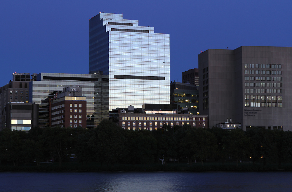 Boston skyline photography from New England and Boston based fine art photographer Juergen Roth showing the Massachusetts Eye and Ear Infirmary, a Harvard Medical School affiliate, captured on a twilight night in September 2013. The hospital is part of Massachusetts General Hospital and is located in Boston's West End, surrounded by various MGH buildings. <br />