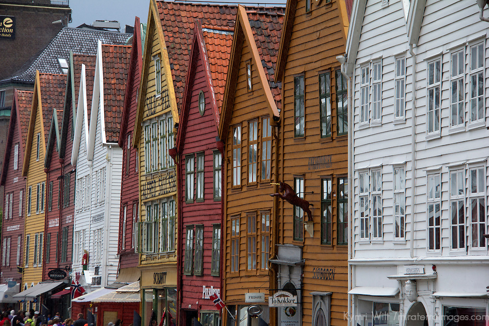 Europe, Norway, Bergen. Warehouse architecture of Bryggen, a UNESCO World Heritage Site.