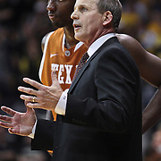 SHOT 2/26/11 5:06:22 PM - Texas head basketball coach Rick Barnes on the sidelines coaching against Colorado during their regular season Big 12 basketball game at the Coors Events Center in Boulder, Co. Colorado upset the fifth ranked Texas 91-89. (Photo by Marc Piscotty / © 2011)