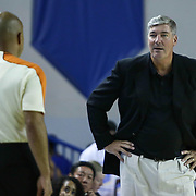 New York Liberty Head Coach Bill Laimbeer, RIGHT, exchanges words with the official in the third period of a WNBA preseason basketball game between the Chicago Sky and the New York Liberty Friday, May. 22, 2015 at The Bob Carpenter Sports Convocation Center in Newark, DEL