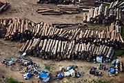 Aerial view of a log sorting yard on the Congo River near Kinshasa, DRC, May 12, 2009. ©Daniel Beltra