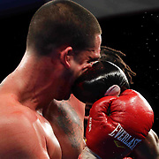 Cruiserweight boxing pro Alex Guerrero of Salisbury, Md in action during champs at the chase against Cruiserweight boxing pro Tony Ferrante Friday, Nov 21, 2014 at The Case Center on The River Front in Wilmington, Del.