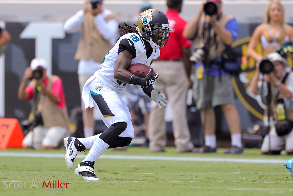 Jacksonville Jaguars wide receiver Ace Sanders (18) runs up filed with the ball during the Jags 28-2 loss to the Kansas City Chiefs at EverBank Field on Sept. 8, 2013 in Jacksonville, Florida. The <br /> <br /> &copy;2013 Scott A. Miller