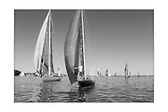 140714_ISON_Panerai_Classics<br /> Stephen O'Flaherty's sloop, Soufriere (left) and Brian Scowcroft's Phantom at the Panerai British Classic Week sailing regatta off Cowes, Isle of Wight. <br /> Picture date Monday 14th July, 2014.<br /> Picture by Christopher Ison. Contact +447544 044177 chris@christopherison.com