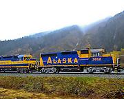 Alaska, Seward Highway, Alaska Railroad Engine 3012 and Engine 3004 taveling on tracks along the Seward Highway