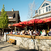 Outdoor cafes in the Whistler Village.  Whistler BC, Canada.