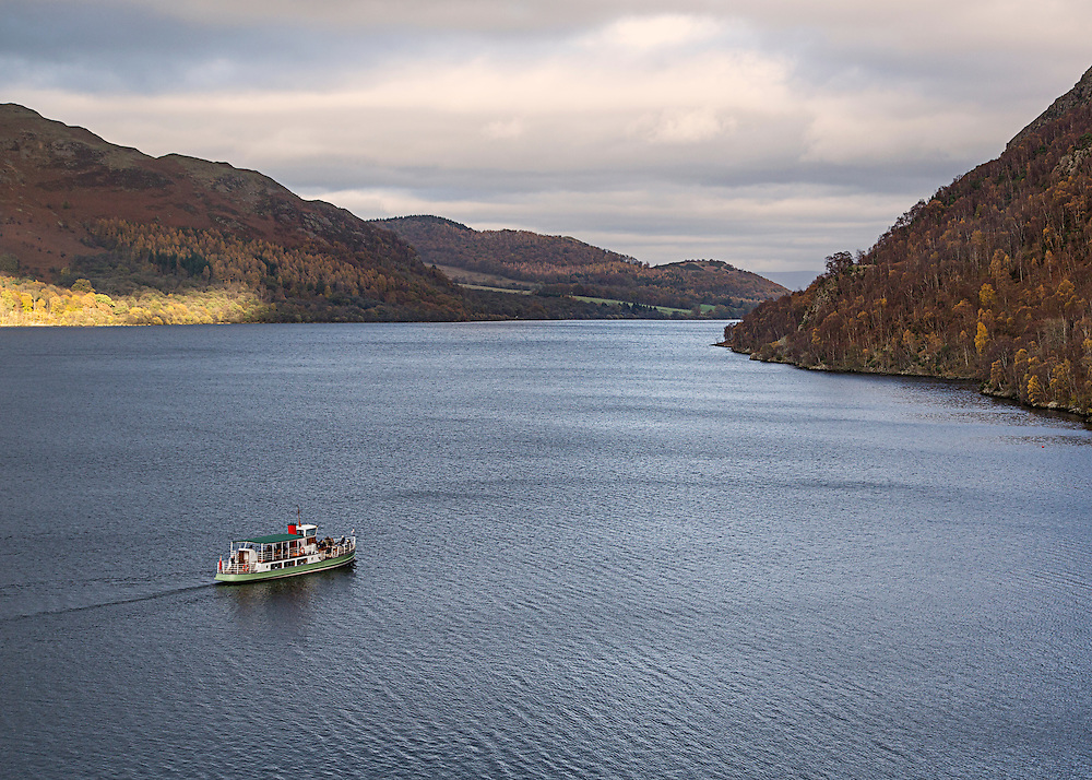 A Steamer on Ullswater in the English Lake District