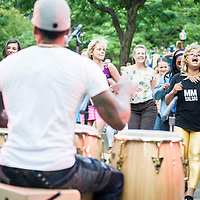 The Pedrito Martinez Group plays the Berklee College of Music's Tito Puente Latin Music Series in the O'Day Park in Boston's South End.