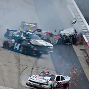Ryan Truex #99 and six other cars wreck on the final lap of NASCAR Nationwide Series at Dover as Carl Edwards goes on to win the NASCAR Nationwide Series at Dover International Speedway in Dover Delaware.