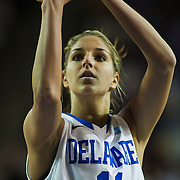 Delaware Forward Elena Delle Donne (11) attempts a free throw in first half of an NCAA college basketball game against The Lady Patriots of George Mason Thursday, Feb. 23, 2012, at the Bob Carpenter Center in Newark, Del.<br /> <br /> Delaware over George Mason 38-21 at half time. (AP Photo/Saquan Stimpson)