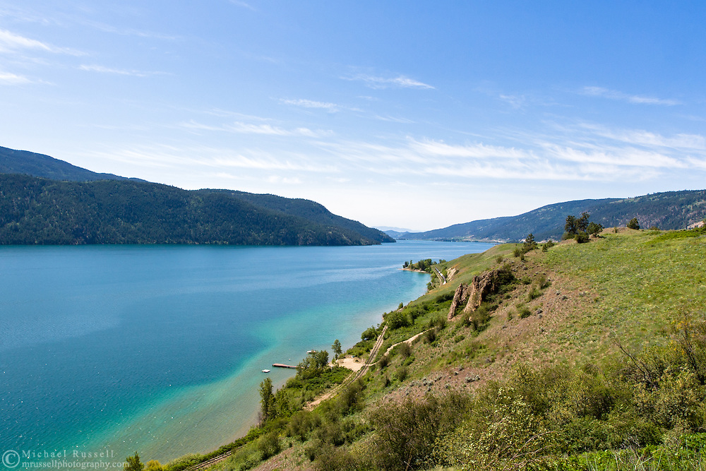 View of Kalamalka Lake shoreline from the Coldstream Lookout in Vernon, British Columbia, Canada