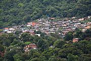 Favela built along the old construction road on the escarpment above Cubatão