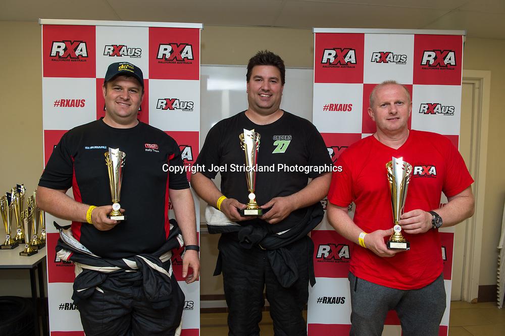 Open Class Podium, Michael Harding, Will Orders, Justin Dowel - Rallycross Australia - Rnd 1 - February 26th 2017. MARULAN DIRT & TAR CIRCUITS, MARULAN, NSW