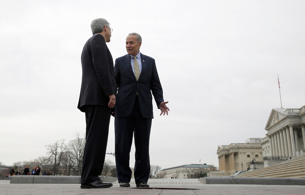 Senator Charles Schumer (D-NY)(R) meets with Judge Merrick Garland, President Obama's Supreme Court nominee, on Capitol Hill in Washington March 22, 2016.      REUTERS/Joshua Roberts