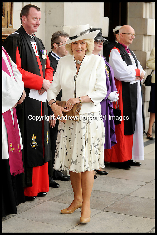 The Prince of Wales, President of The Victoria Cross and George Cross Association, and The Duchess of Cornwall attend the Victoria Cross and George Cross Association Reunion Service at St. Martin-in-the-Fields Church, Central London, Wednesday May30, 2012.  Photo By Andrew Parsons/i-Images.