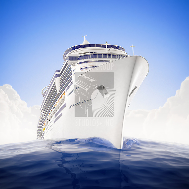 a luxury cruiseship sailing the waters with dramatic fisheye lens effect