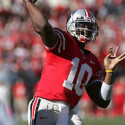 COLUMBUS, OH - OCTOBER 07: Troy Smith #10 of The Ohio State Buckeyes throws the ball in the first quarter against the Bowling Green Falcons on October 7, 2006 at Ohio Stadium in Columbus, Ohio.  Photo by Bryan Rinnert/3Sight Photography