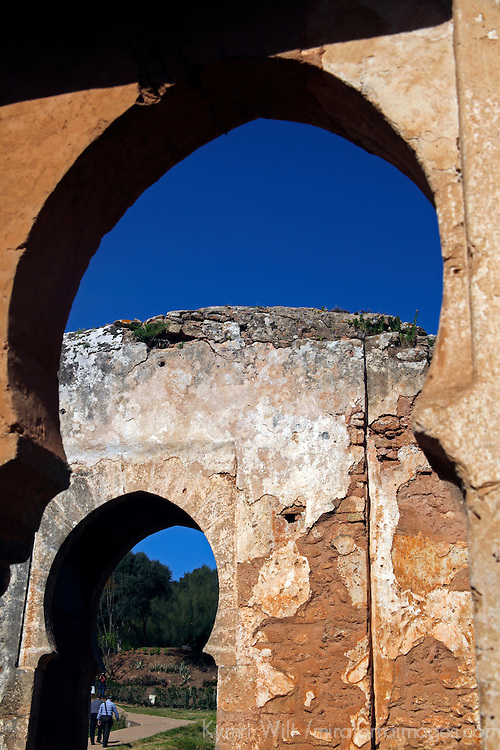 Africa, Morocco, Rabat. Arches of the Chellah ruins in Rabat.