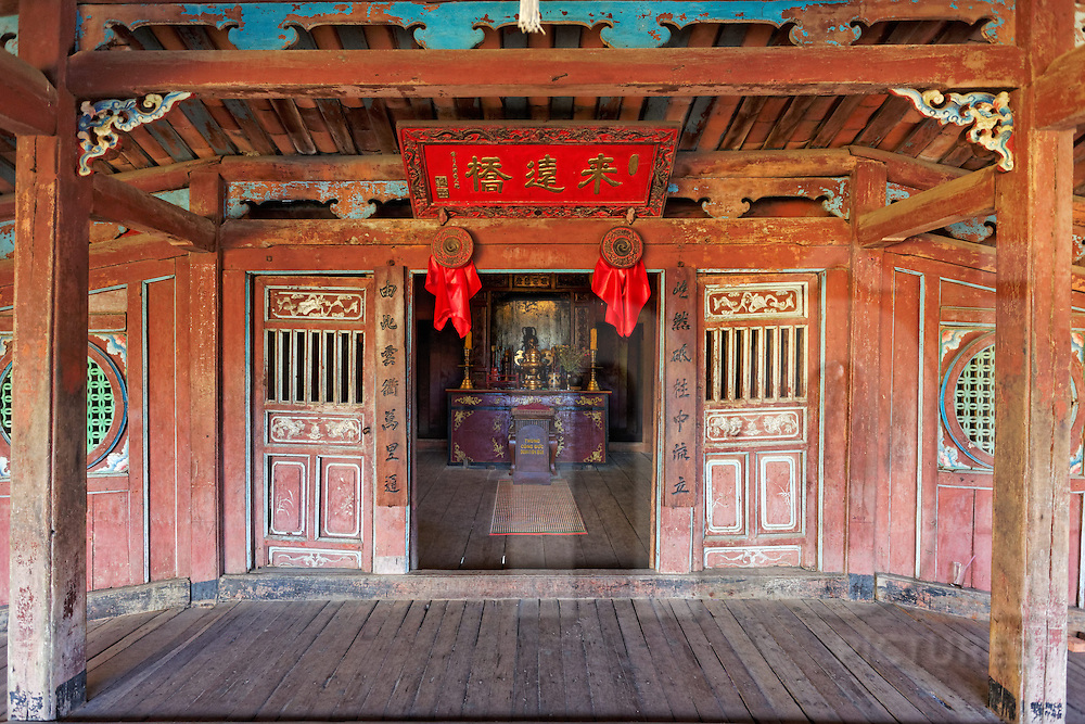 Taoist temple in the middle of Hoi An's famous Japanese Bridge, Vietnam, Southeast Asia.