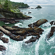 Cape Flattery, the northwesternmost point of the contiguous United States, can be reached from a short walk on boardwalks and trail in Clallam County on the Makah Reservation, Washington. Admire coastal scenery, sea stacks, and surf. Here the Strait of Juan de Fuca joins the Pacific Ocean. Offshore of the Olympic Peninsula, the Olympic Coast National Marine Sanctuary extends from Cape Flattery in the north to Copalis River in the south. Panorama stitched from 9 images.
