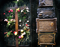 BUENOS AIRES, ARGENTINA:  The tombstone of Mari?a Eva Duarte de Pero?n, better known as Eva Peron in La Recoleta Cemetery, Buenos Aires. Peron died in July 26, 1952 after battling cancer. .(Photo by Ami Vitale)