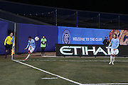 5/22/15- Daivd Villa, captain and striker for New York City Football Club, takes a corner kick during a NYCFC home game at Yankee Stadium in the South Bronx.