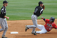 Ole Miss' Tanner Mathis (12) is forced out at second by Lipscomb's Kyle Henry (9) on a double play at Oxford-University Stadium in Oxford, Miss. on Sunday, March 13, 2011. Ole Miss won 5-1 to sweep the series and improve to 13-4.