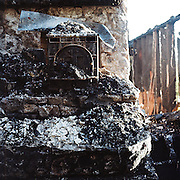In December my brother awakened me with an early morning phone call.<br /> <br /> &quot;The house burned down,&quot; he said, in disbelief. &quot;I'm on a neighbor's couch.&quot;<br /> <br /> The house was the house in Hillsboro where we grew up, where he and our parents still lived. The fire department could not determine a cause, only that an explosion had occured, the flames were thirty feet high, and the house was gone in thirty minutes.<br /> <br /> Last week, as I drove up to the ruins, two deer bounded out of the ashes. I don't know what they were looking for. I only found a few things that were even remotely recognizable: My grandfather's tools and coin collection. My father's tie rack, with bits of carbonized polyester. A couple cast iron pots. Melted porcelain and glass. A stack of my charred and soaking-wet college papers, all stuck together, with notes for songs-in-progress. A sheaf of letters regarding wheat and other crops, written in very old-looking script. Metal skeletons of mattresses and chairs. The chimney, tilting, holding up the three remaining boards of the roof. What could only have been the stove, stuck under a melted bathtub in the crater of the kitchen. A doorknob attached to a door-shaped chunk of ash. The rusted guts of the grand piano.<br /> <br /> And the fir tree on the western side, 60 feet tall now but much smaller when it served as my family's Christmas tree in 1982 when we moved in. I was two years and my brother two weeks old. The tree is half burnt but the other half shows signs of life.<br /> <br /> It may survive.