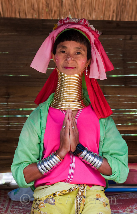 Woman from the Padaung long neck hill tribe with colourful dress near Tha Ton, Chiang Mai Province, Thailand