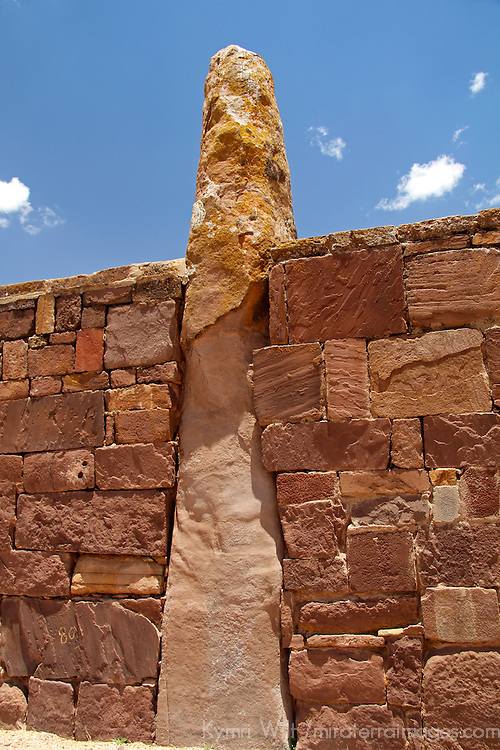 South America, Bolivia, Tiwanaku. Pillar of Kalasasaya Temple Wall at Pre-Columbian archaeological site of Tiwanaku, a UNESCO World Heritage Site.
