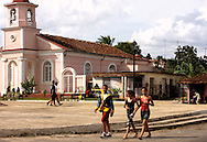 Church and square in Rodas, Cienfuegos Province, Cuba.
