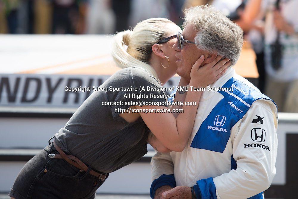 29 May 2016: Lady Gaga kissing Mario Andretti at the 100th running of the Indianapolis 500 at the Indianapolis Motor Speedway in Speedway, IN. (Photo by James Black/Icon Sportswire)
