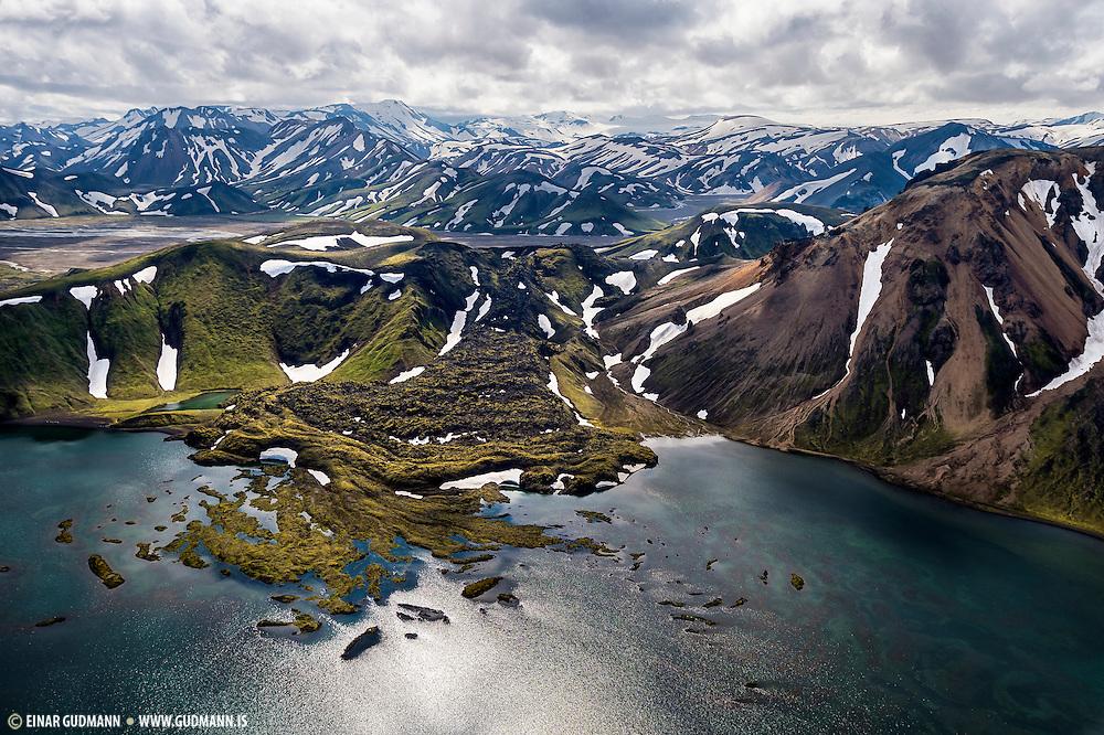 Frostastaðavatn at landmannalaugar in South-Iceland - aerial photography.