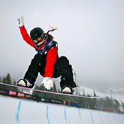 12/20/08 10:49:22 AM -- Breckenridge, CO, U.S.A. -- Female snowboarder Torah Bright of New South Wales, Australia gets airborne in the halfpipe at the inaugural Winter Dew Tour in Breckenridge, Co. on December 20, 2008. The four-day competition is the first of three stops on the tour that features freeskiing and snowboarding..(Photo by Marc Piscotty / © 2008)