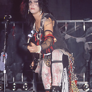Nikki Sixx of Vince Neil of Motley Crue at the Beacon Theater in New York May 1984.
