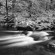 Upper Tremont Creek Cascades - Great Smoky Mountains - Autumn - Black & White