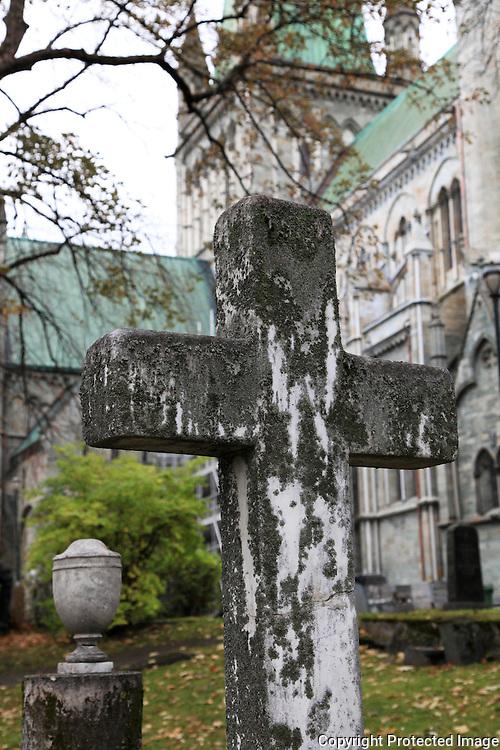 The old graveyard next to the cathedral Nidarosdomen in Trondheim.