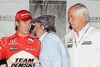 Sir Jackie Stewart, Ryan Briscoe, Roger Penske,  Meijer Indy 300, Kentucky Speedway, Sparta, KY 010809 09IRL12